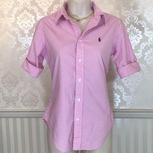 Ralph Lauren Pink Gingham Button-Down Shirt